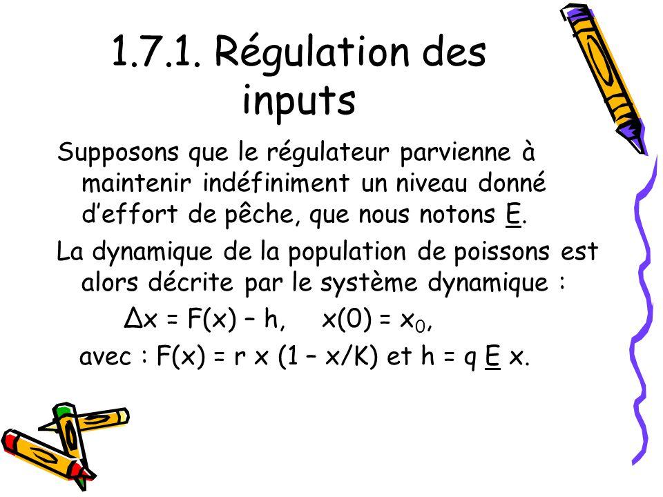 1.7.1. Régulation des inputs Supposons que le régulateur parvienne à maintenir indéfiniment un niveau donné d'effort de pêche, que nous notons E.
