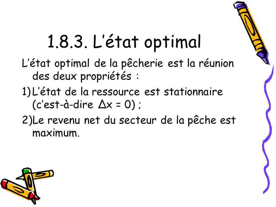 1.8.3. L'état optimal L'état optimal de la pêcherie est la réunion des deux propriétés :