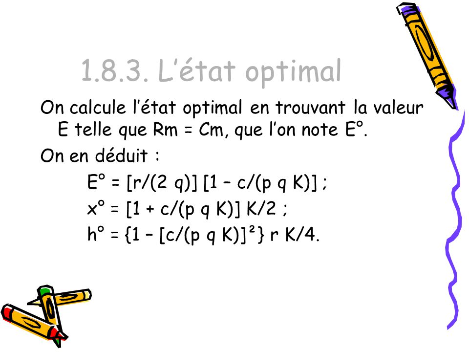1.8.3. L'état optimal On calcule l'état optimal en trouvant la valeur E telle que Rm = Cm, que l'on note E°.