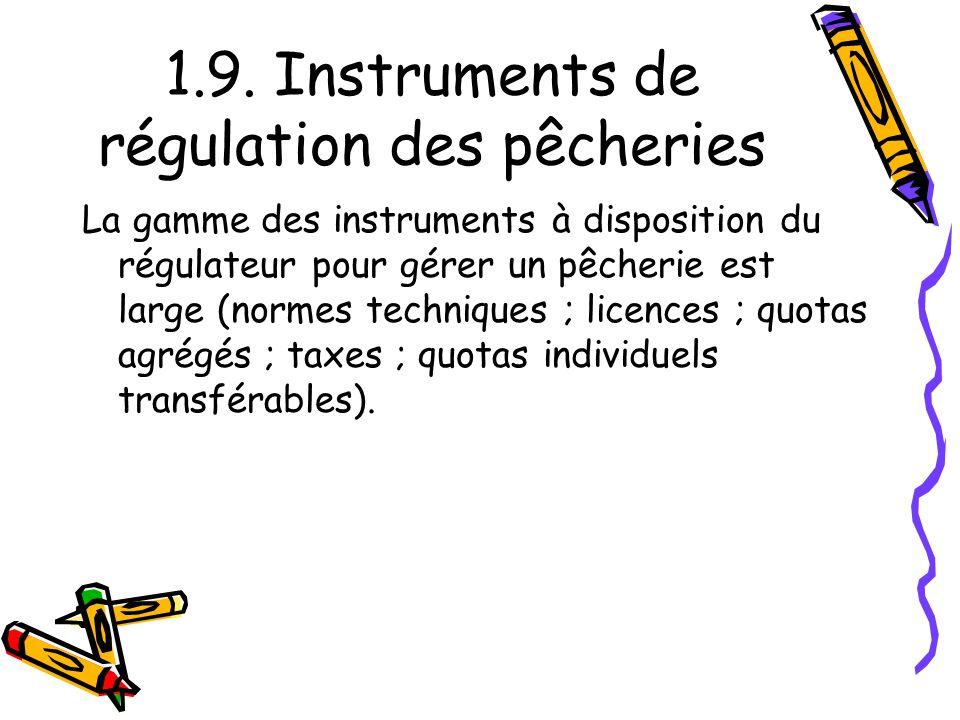 1.9. Instruments de régulation des pêcheries