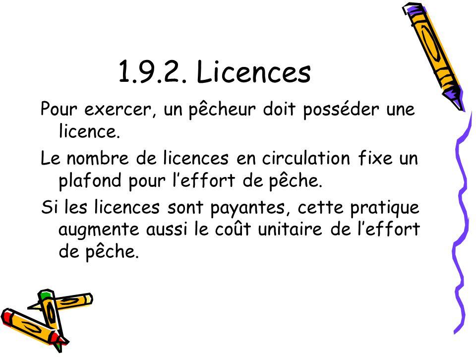 1.9.2. Licences Pour exercer, un pêcheur doit posséder une licence.