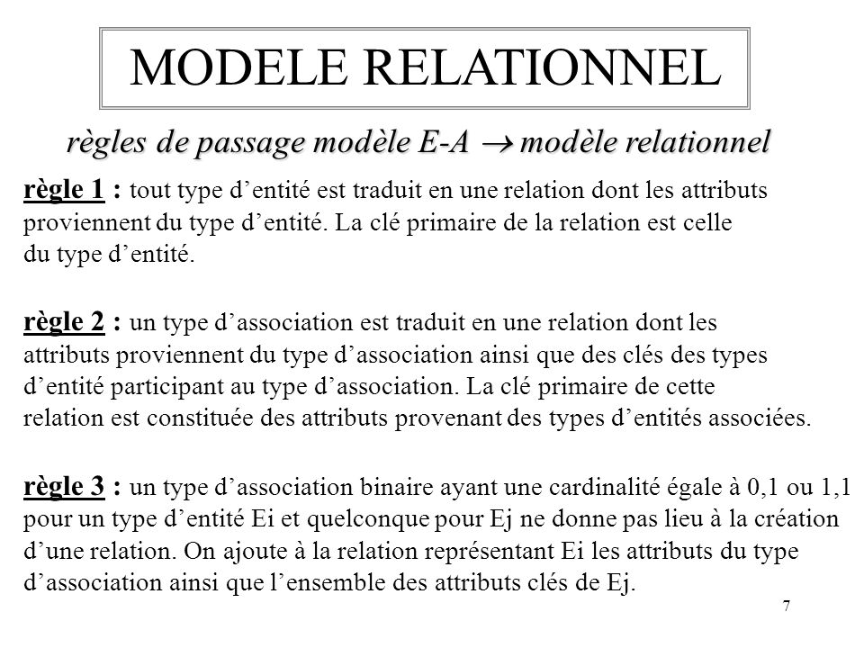 MODELE RELATIONNEL règles de passage modèle E-A  modèle relationnel