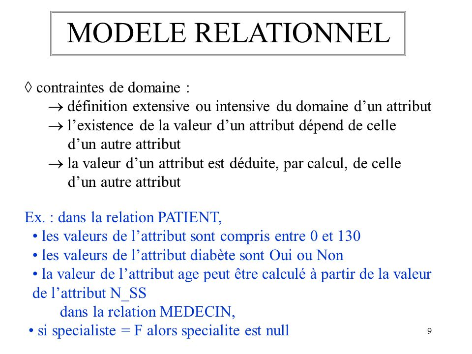 MODELE RELATIONNEL  contraintes de domaine :