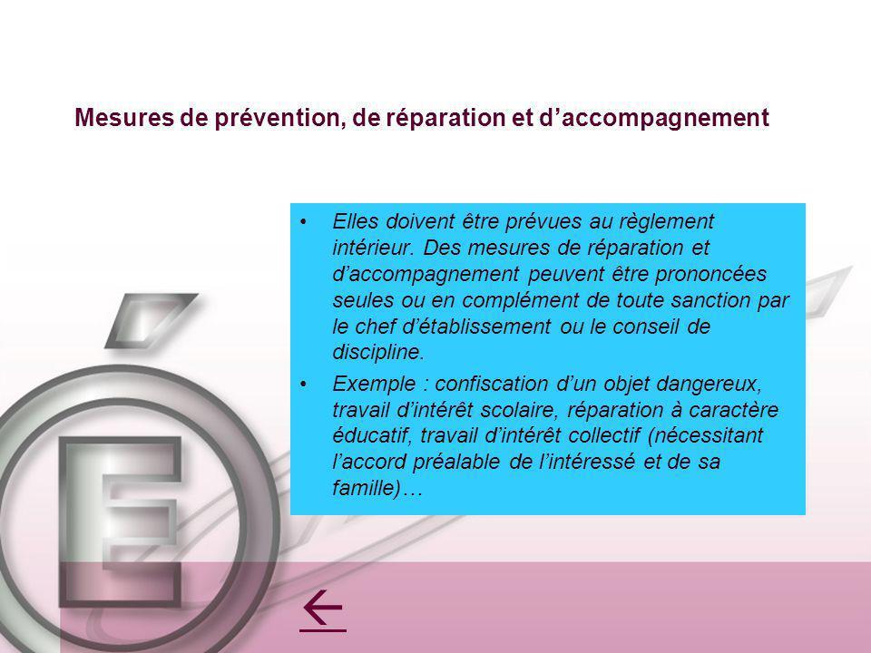 Mesures de prévention, de réparation et d'accompagnement