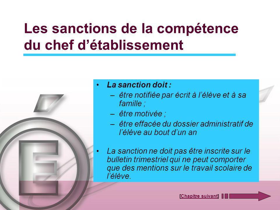 Les sanctions de la compétence du chef d'établissement