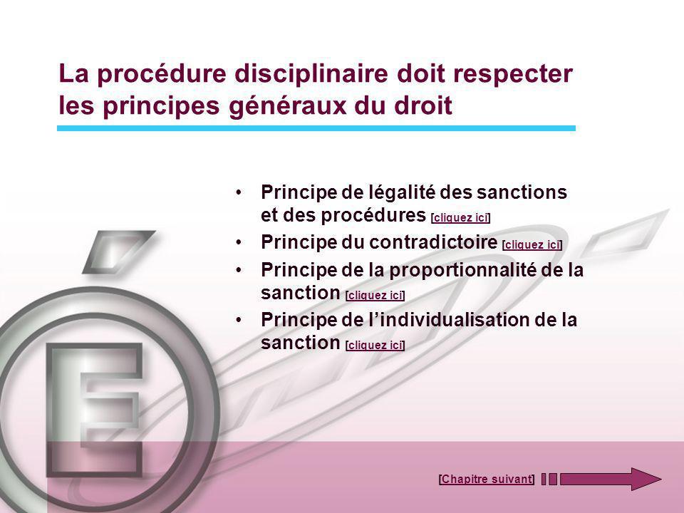 La procédure disciplinaire doit respecter les principes généraux du droit