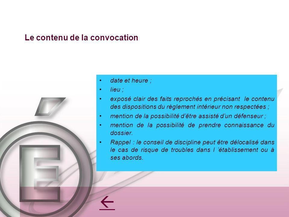 Le contenu de la convocation