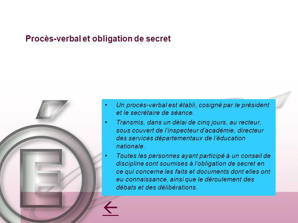 Procès-verbal et obligation de secret