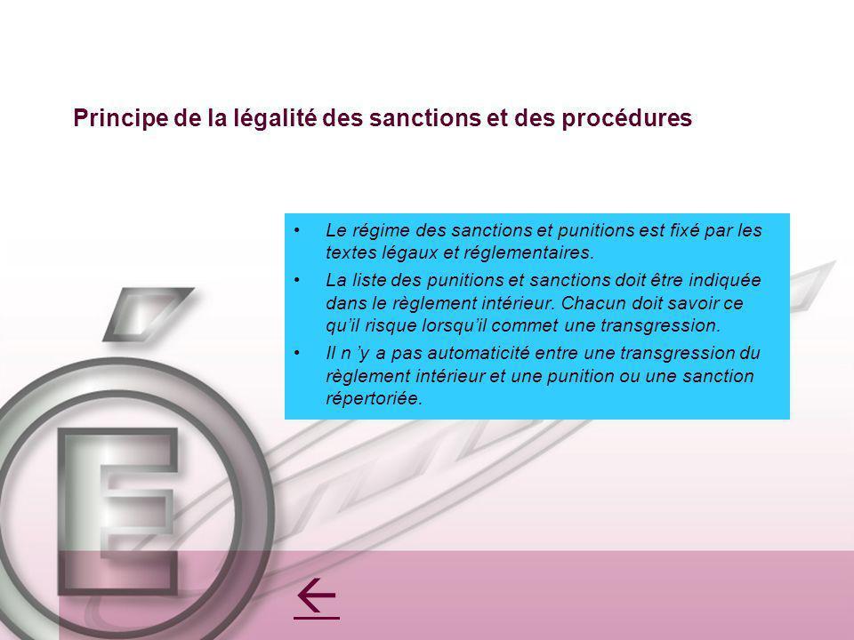 Principe de la légalité des sanctions et des procédures