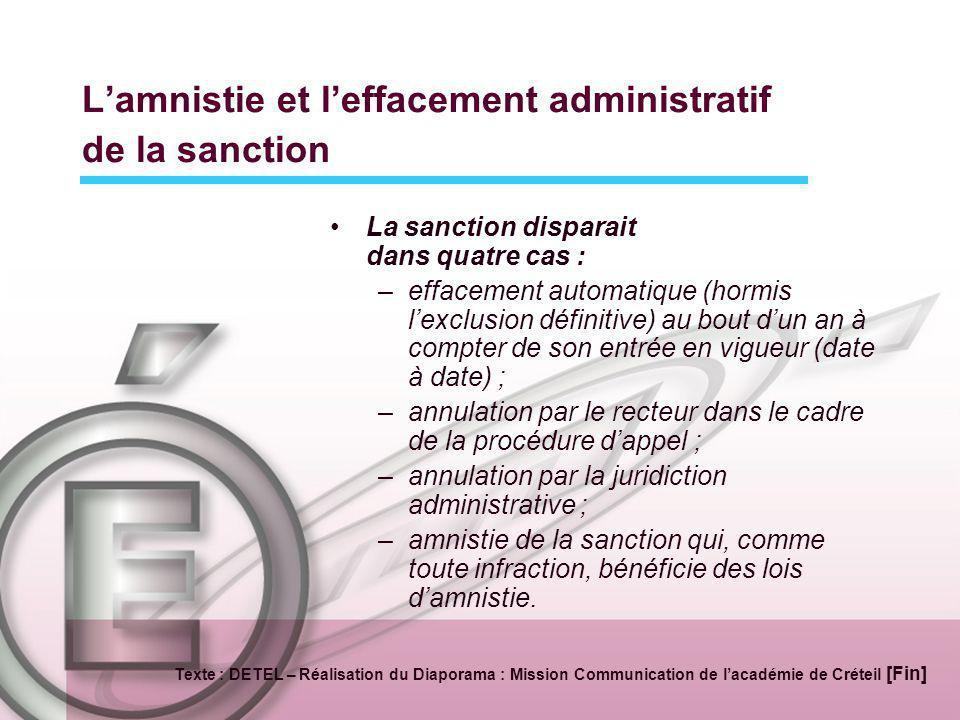 L'amnistie et l'effacement administratif de la sanction