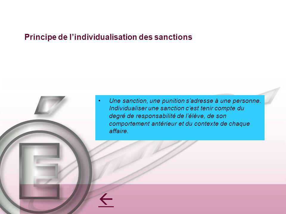 Principe de l'individualisation des sanctions