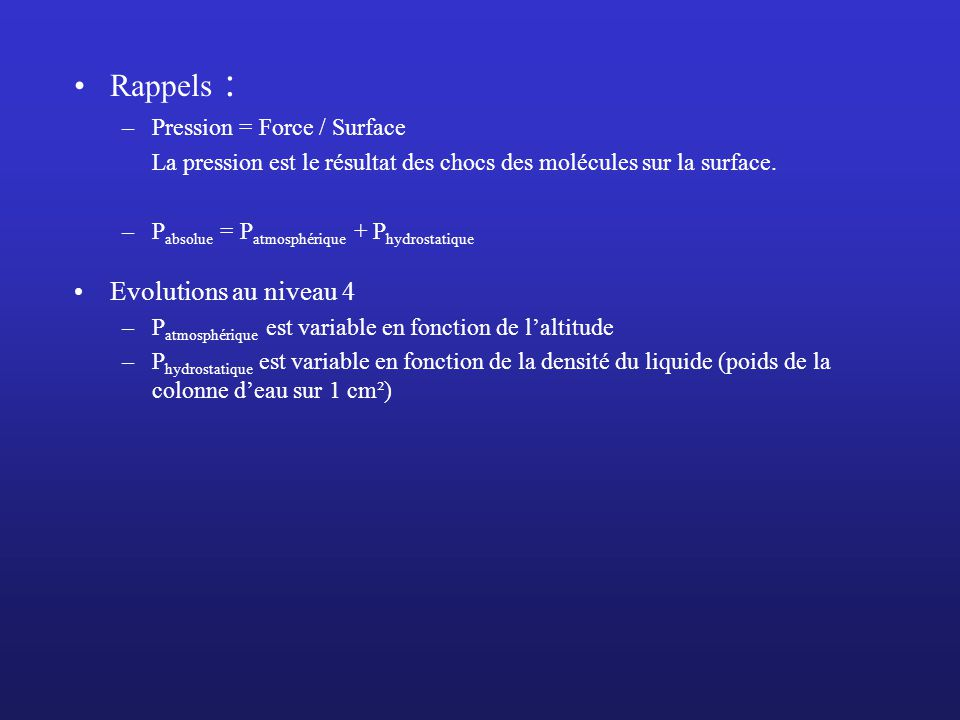 Rappels : Evolutions au niveau 4 Pression = Force / Surface