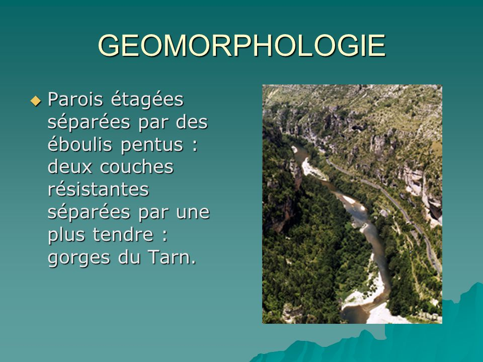 GEOMORPHOLOGIE Parois étagées séparées par des éboulis pentus : deux couches résistantes séparées par une plus tendre : gorges du Tarn.