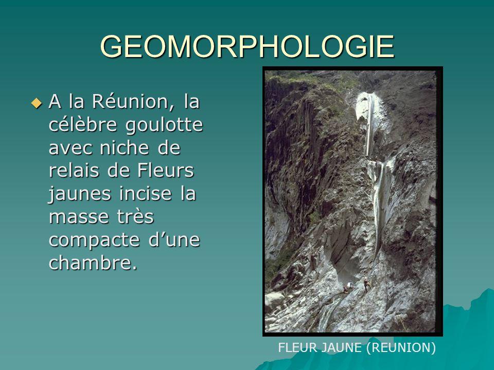 GEOMORPHOLOGIE A la Réunion, la célèbre goulotte avec niche de relais de Fleurs jaunes incise la masse très compacte d'une chambre.