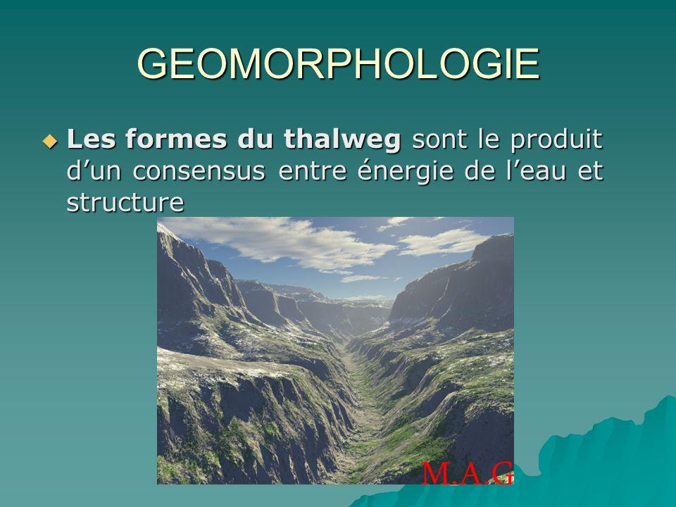 GEOMORPHOLOGIE Les formes du thalweg sont le produit d'un consensus entre énergie de l'eau et structure.