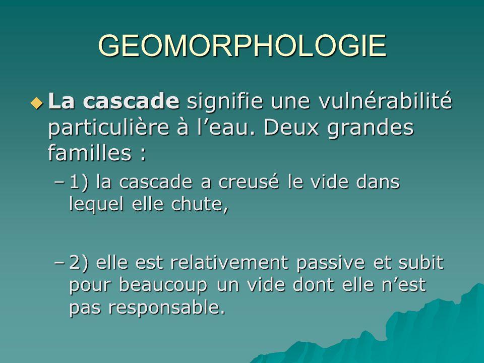 GEOMORPHOLOGIE La cascade signifie une vulnérabilité particulière à l'eau. Deux grandes familles :