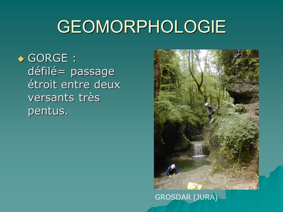 GEOMORPHOLOGIE GORGE : défilé= passage étroit entre deux versants très pentus. GROSDAR (JURA)
