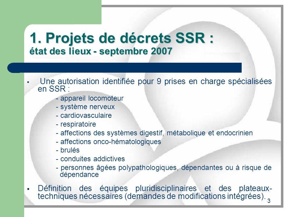 1. Projets de décrets SSR : état des lieux - septembre 2007