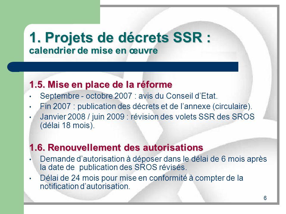 1. Projets de décrets SSR : calendrier de mise en œuvre