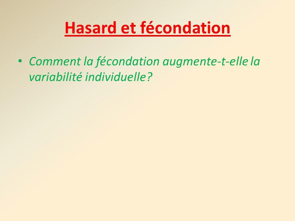 Hasard et fécondation Comment la fécondation augmente-t-elle la variabilité individuelle