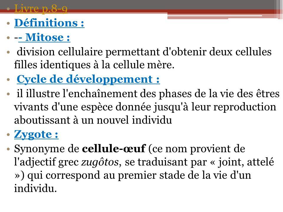 Livre p.8-9 Définitions : -- Mitose : division cellulaire permettant d obtenir deux cellules filles identiques à la cellule mère.