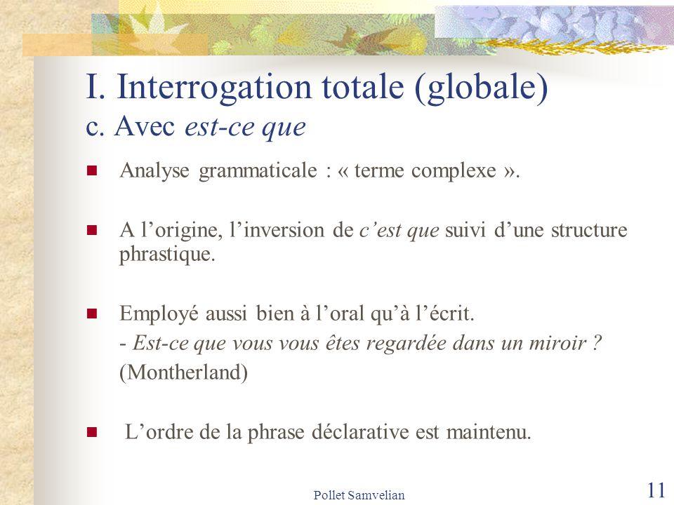 I. Interrogation totale (globale) c. Avec est-ce que