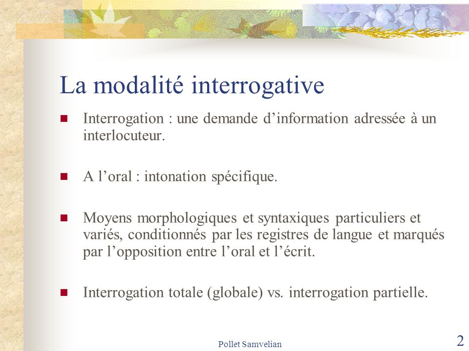 La modalité interrogative