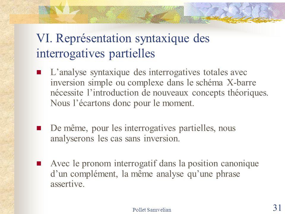 VI. Représentation syntaxique des interrogatives partielles