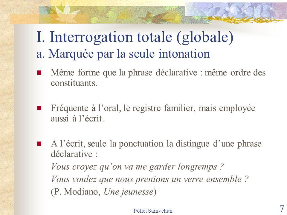 I. Interrogation totale (globale) a. Marquée par la seule intonation