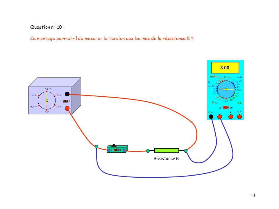 Question n° 10 : Ce montage permet-il de mesurer la tension aux bornes de la résistance R 3.00. mA AC.