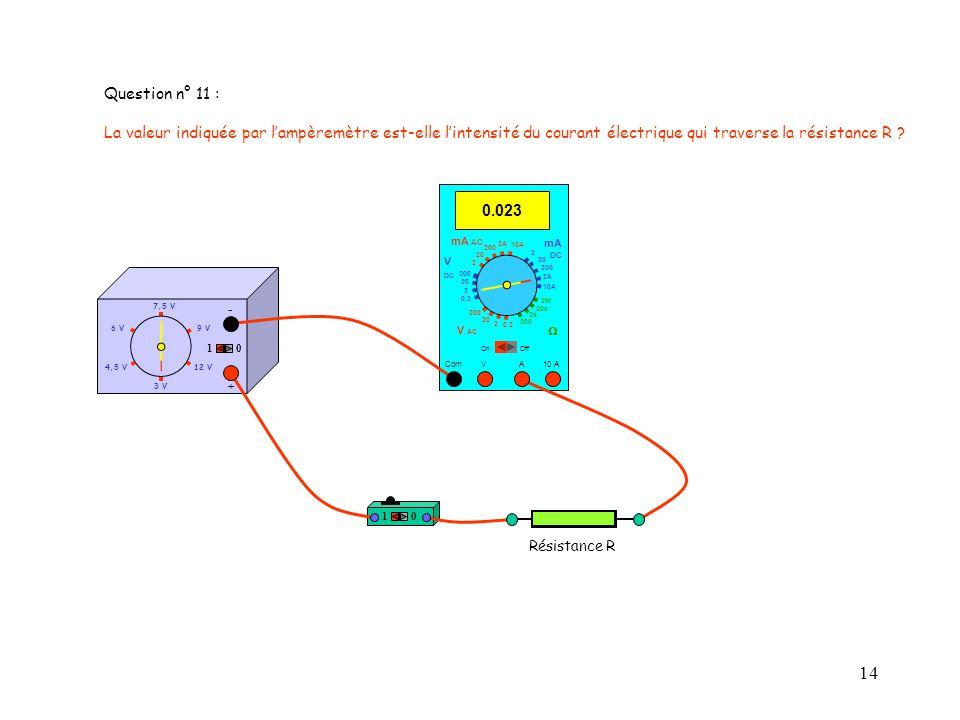 Question n° 11 : La valeur indiquée par l'ampèremètre est-elle l'intensité du courant électrique qui traverse la résistance R