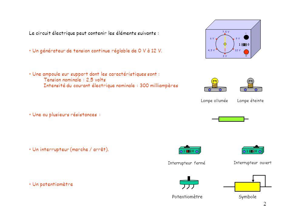 Le circuit électrique peut contenir les éléments suivants :