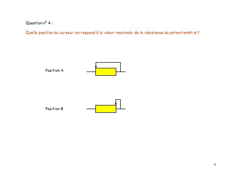 Question n° 4 : Quelle position du curseur correspond à la valeur maximale de la résistance du potentiomètre