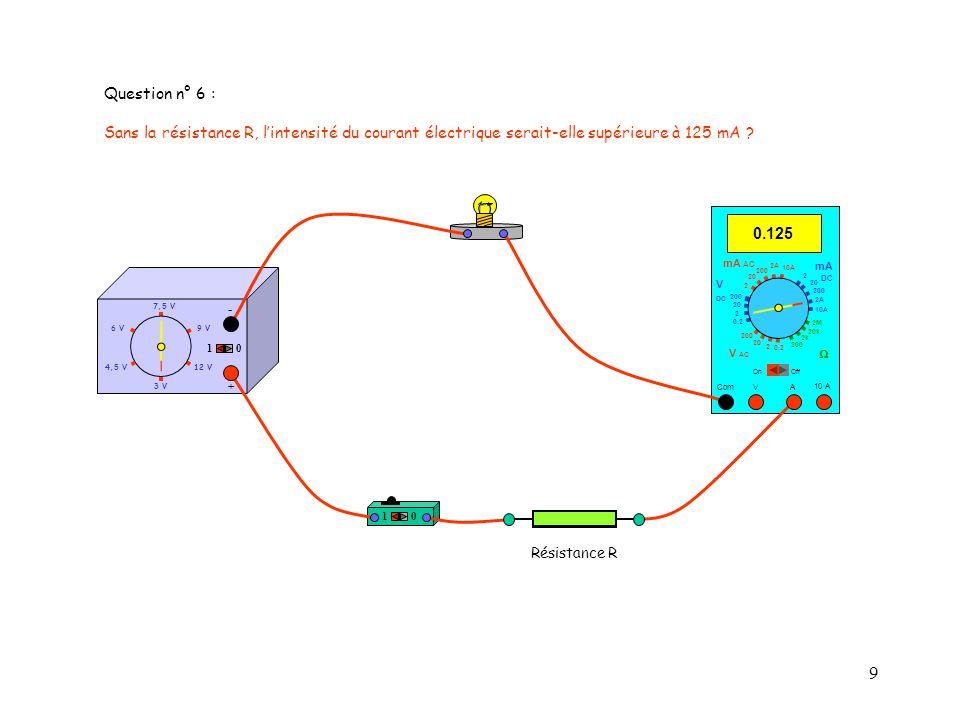 Question n° 6 : Sans la résistance R, l'intensité du courant électrique serait-elle supérieure à 125 mA