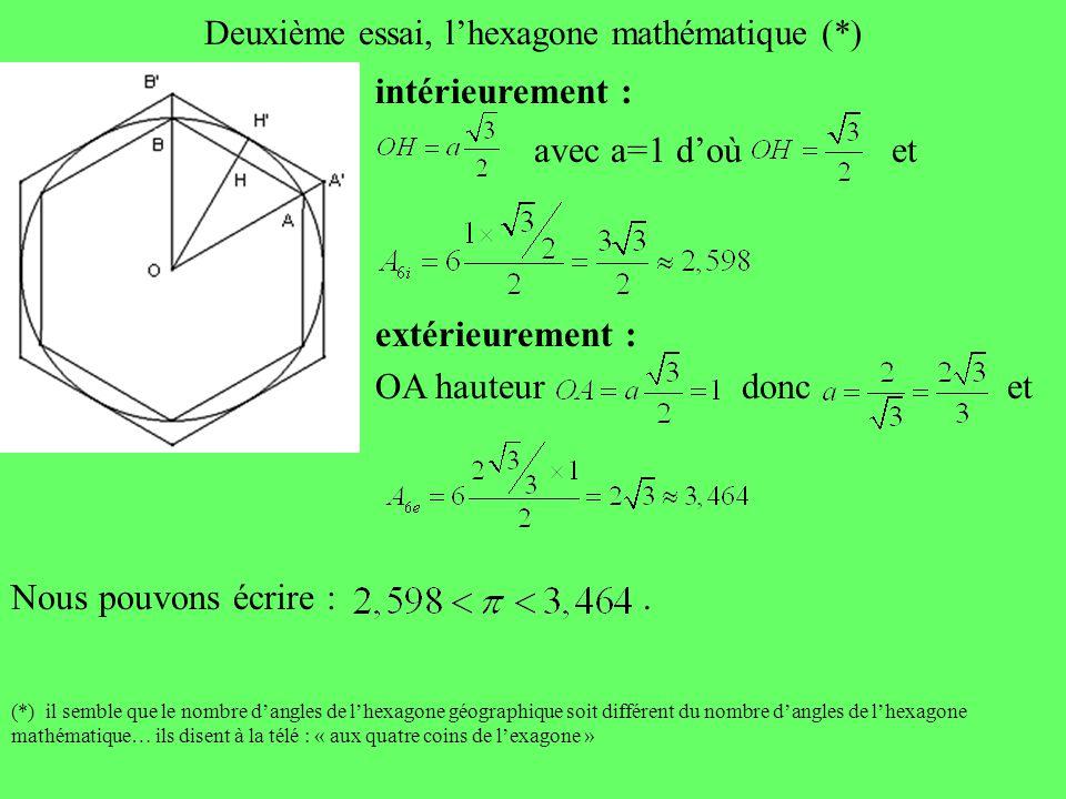 Deuxième essai, l'hexagone mathématique (*)