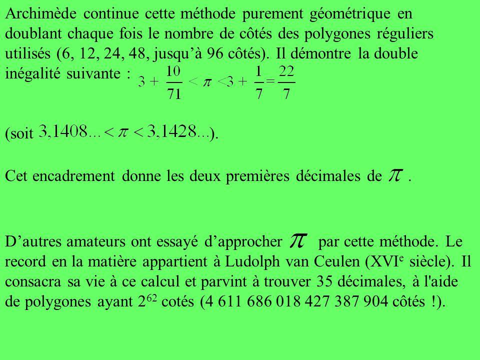 Archimède continue cette méthode purement géométrique en doublant chaque fois le nombre de côtés des polygones réguliers utilisés (6, 12, 24, 48, jusqu'à 96 côtés). Il démontre la double inégalité suivante :