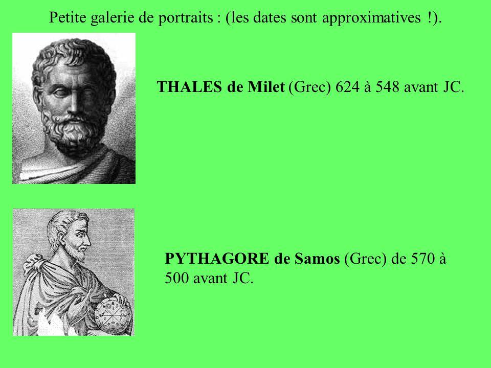 Petite galerie de portraits : (les dates sont approximatives !).