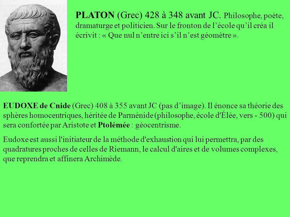 PLATON (Grec) 428 à 348 avant JC