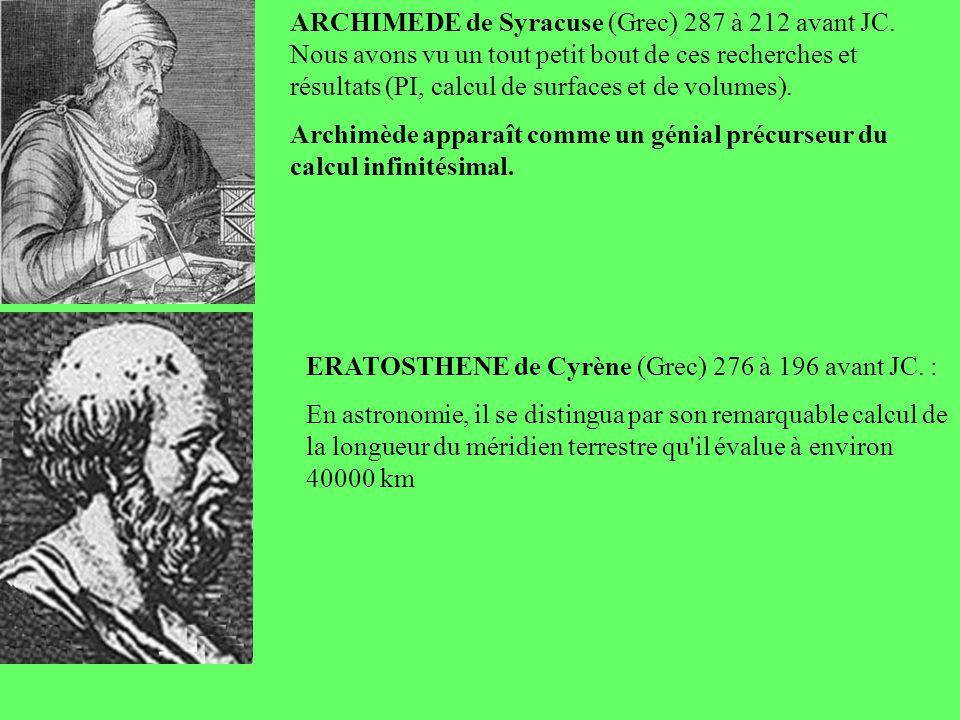 ARCHIMEDE de Syracuse (Grec) 287 à 212 avant JC