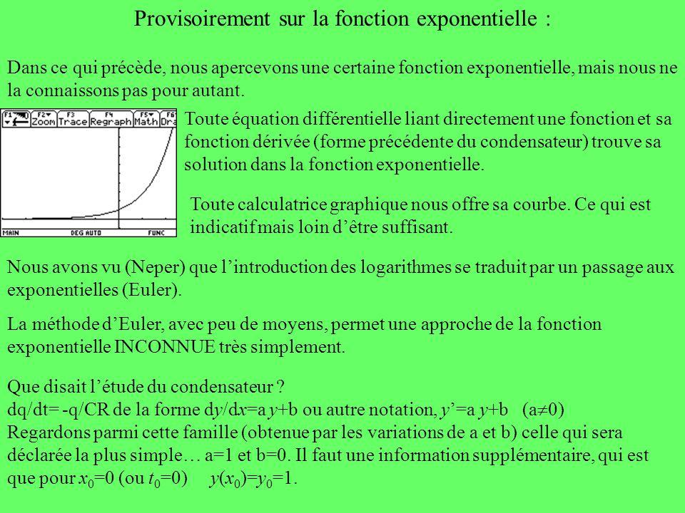 Provisoirement sur la fonction exponentielle :