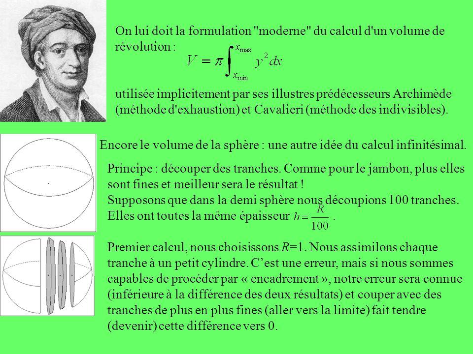 On lui doit la formulation moderne du calcul d un volume de révolution :