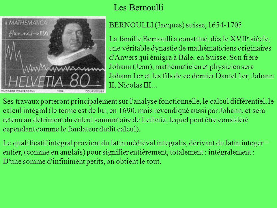 Les Bernoulli BERNOULLI (Jacques) suisse, 1654-1705