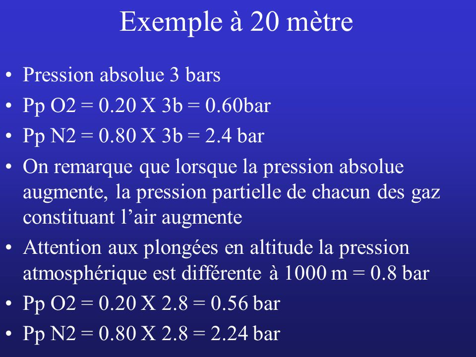 Exemple à 20 mètre Pression absolue 3 bars Pp O2 = 0.20 X 3b = 0.60bar