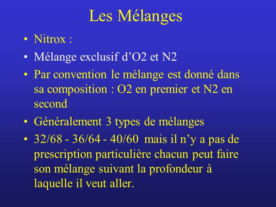 Les Mélanges Nitrox : Mélange exclusif d'O2 et N2