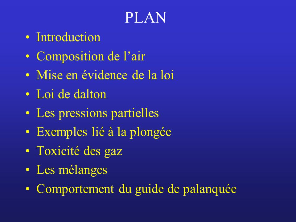 PLAN Introduction Composition de l'air Mise en évidence de la loi