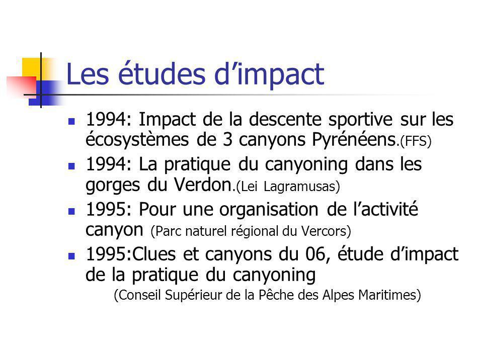 Les études d'impact 1994: Impact de la descente sportive sur les écosystèmes de 3 canyons Pyrénéens.(FFS)