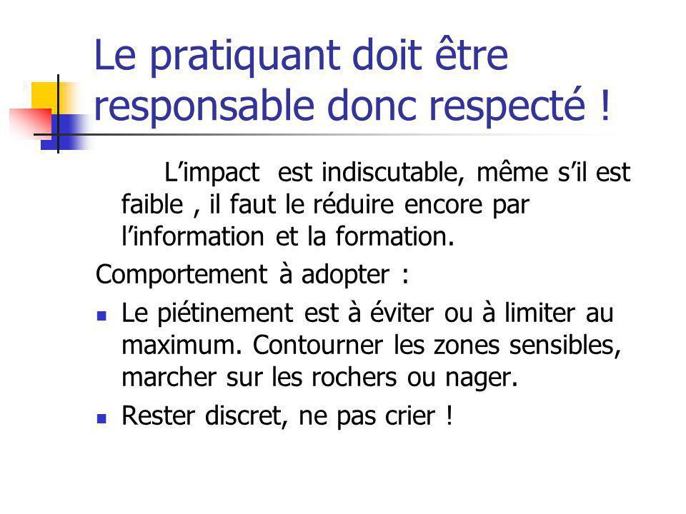 Le pratiquant doit être responsable donc respecté !