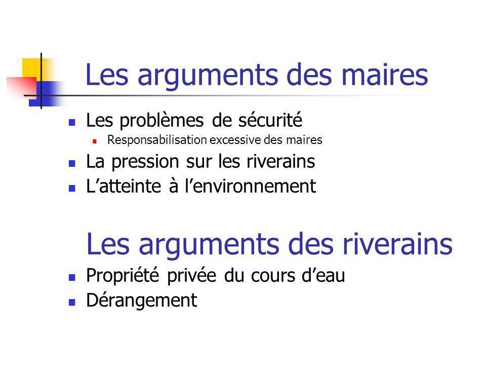 Les arguments des maires