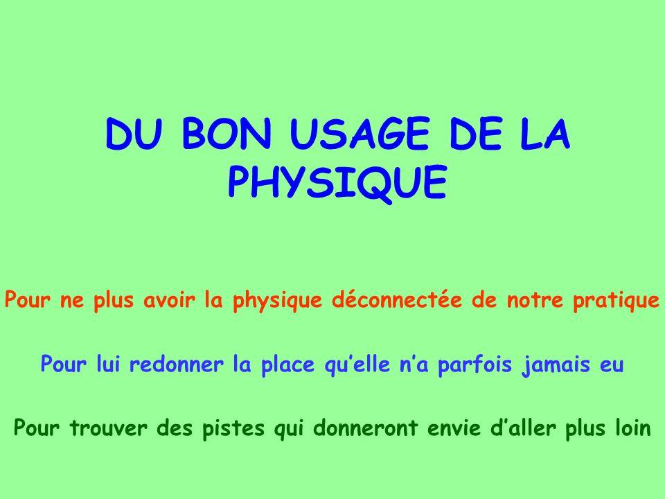 DU BON USAGE DE LA PHYSIQUE