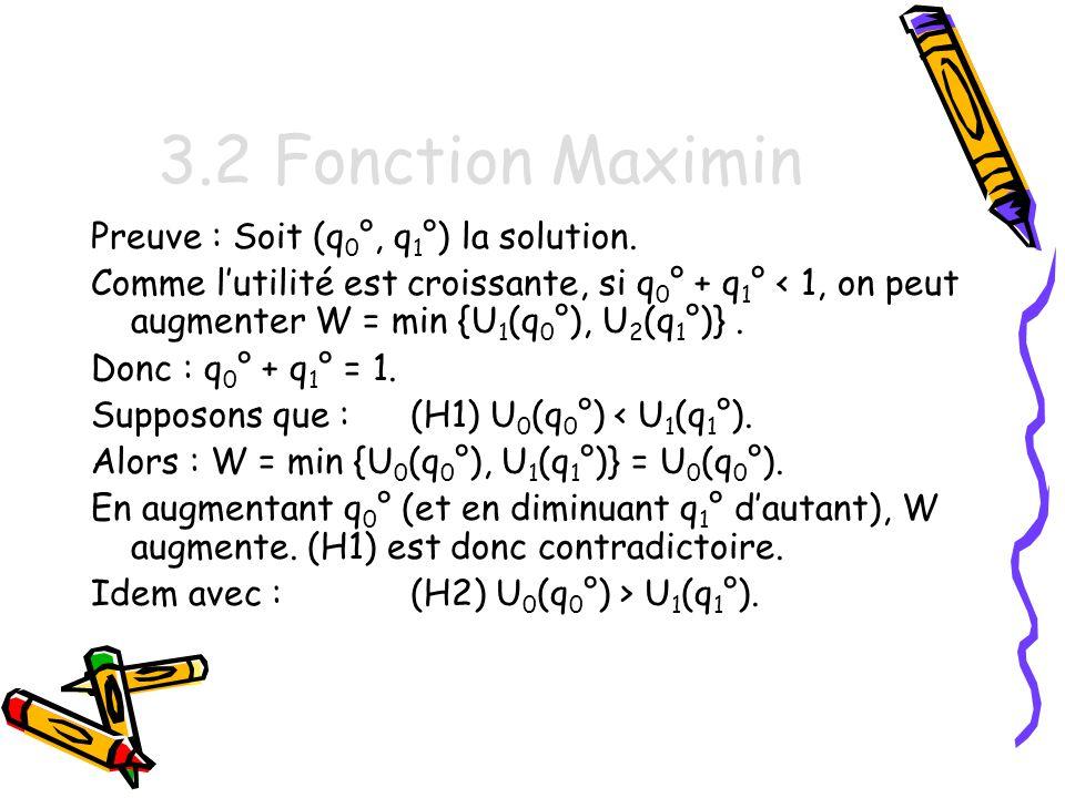3.2 Fonction Maximin Preuve : Soit (q0°, q1°) la solution.